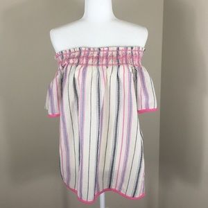 Solitaire White Pink Striped Off the Shoulder Top